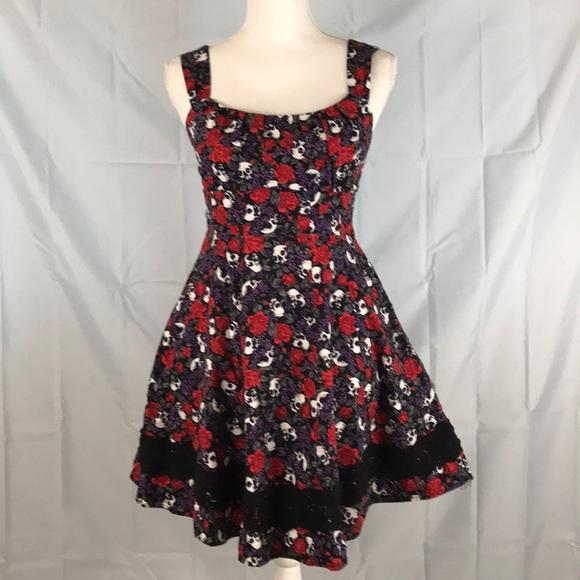 670f3de2451d Hot Topic Dresses   Skirts - Hot topic Medium Black Red Purple rose skull  dress